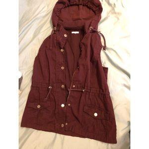 Plum purple utility vest with hood